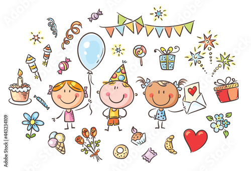 Obraz na plátne Kids and party things clipart set