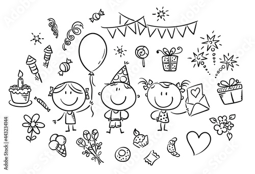 Obraz na plátne Kids and party things clipart set, outline vector