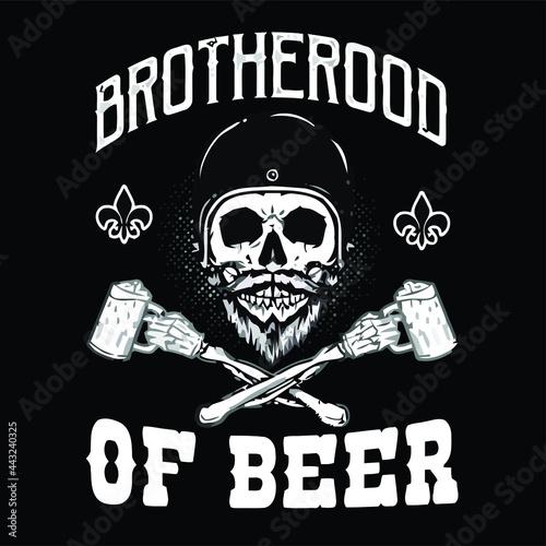 brotherhood of beer cafe racer biker skull   poster design vector illustration f Fotobehang