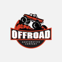 Off-road Car Logo Illustration, With Emblem Design Offroading Suv Adventure, Extreme Competition Emblem And Car Club Element.