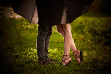 Legs Of A Young Couple Under An Umbrella On A Green Meadow In Sunlight.