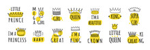 Hand Drawn Crown Logos. Prince And Princess, King Or Queen Graffiti Elements. Yellow Stains And Doodle Font Lettering. Funny Stickers With Imperial Headdress. Vector Royal Symbols Set