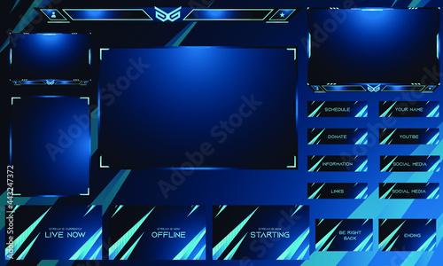 Fotografie, Obraz Twitch Overlay Live Stream template set