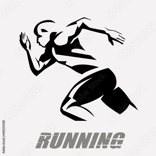 running man vector symbol, stylized silhouette, sport and activity concept Fototapet