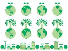 新芽や木が生えている緑の地球のイラストセット 自然保護やエコのイメージ