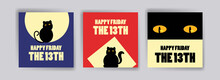 Friday The 13th Banner. Banner With Cute Cat For Cards, Postcards, Social Media Ads And Posters.