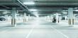 Horizontal image of clean white underground parking lot