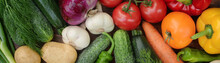 Colorful Set Organic Food. Fresh Raw Vegetables. Healthy Vegetarian Food.Vegetarian Eating Concept.Top View