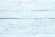 Light Blue Wooden Background, Empty Backdrop, Horizontal Direction Of Boards, Copy Space