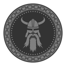 Viking Head Silhouettes Icon Isolated On White Background