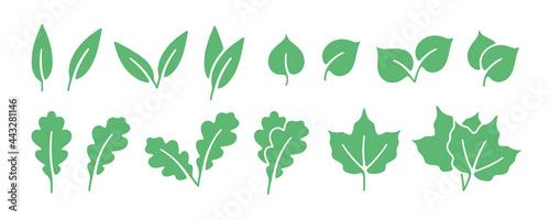 Obraz na plátně Minimalistic green leaf icon set