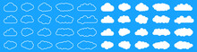 Set White Clouds Icon On Blue Background – Vector