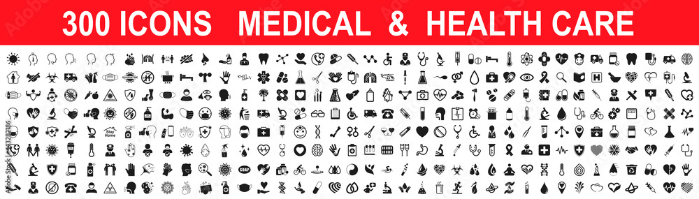 Obraz Set 300 Medicine and Health care flat icons. Collection health care medical sign icons – stock vector fototapeta, plakat