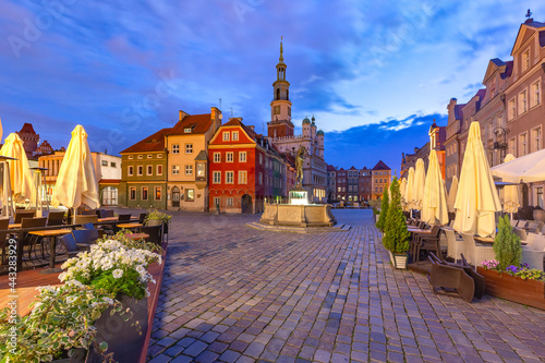 Obraz na plátně Poznan Town Hall on Old Market Square in Old Town at night, Poznan, Poland