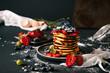 Pancake. Tasty pancakes with fruits, strawberries, berries, sugar. Pancakes with chocolate. Dessert. Breakfast pancakes.