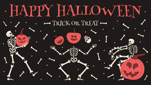 Happy Halloween Party Poster. Spooky Halloween Skeleton With Pumpkins Festive Banner Vector Background Illustration. Halloween Skeletons Party Invitation