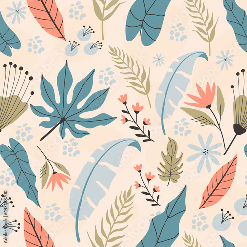Tapety Etniczne  tropikalny-wzor-recznie-rysowane-ilustracje