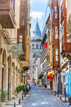 Galata Tower Landmark, Istanbul Street In Turkey