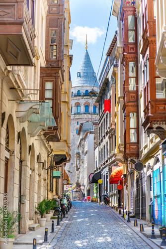 Fényképezés Galata tower landmark, Istanbul street in Turkey