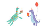 Fototapeta Dinusie - Cute Dinosaurs in Party Hats at Birthday Party Set, Adorable Funny Dino Characters Holding Gift Box and Piece of Cake Cartoon Vector Illustration