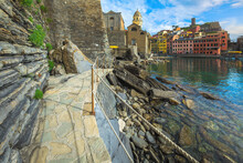 Fantastic Waterfront Walkway And Colorful Buildings, Cinque Terre, Liguria, Italy