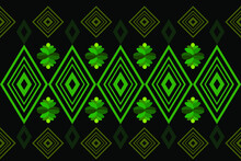 Ethnic Pattern Vector Green Color Squares Pattern On Black Background