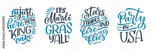 Fototapeta Set with funny hand drawn lettering quotes about Mardi Gras