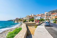 Vathy Village Street View In Samos Island. Samos Island Is Populer Tourist Destination In Aegean Sea.