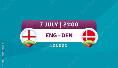Fotografia england vs denmark match vector illustration Football euro 2020 championship