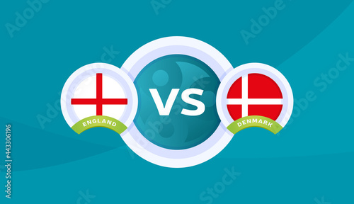Fotografie, Tablou england vs denmark match vector illustration Football euro 2020 championship