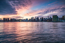 Manhattan Skyline Along The East River At Sunset, New York City, USA