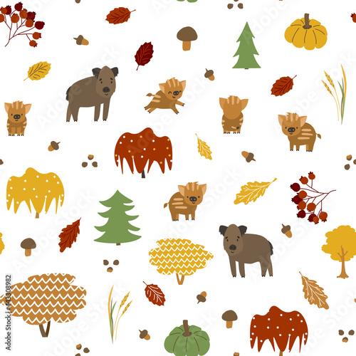 Foto Bright boar family seamless pattern
