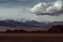 View Of The Mongolian Steppe, Foothills In Bad Weather.