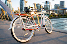 A Vintage Ladies Cruiser Bicycle Parked On A Pedestrian Walkway Over The Bow River In Calgary Alberta Canada.