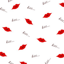 Kiss Pattern With Lips And Text
