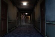 3D Illustration Of A Ghostly Woman In Torn Wedding Dress Floating In A Dark Haunted Hotel Hallway.