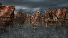 3D Illustration Of A Medieval Fantasy Village Or Town With Wooden Buildings, A Well And A Windmill.