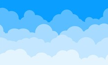 Cloud Pattern. Blue Sky With Clouds. Cartoon Cloudscape Vector Background.