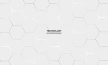 Light Gray Hexagonal Technology Vector Abstract Background. White Bright Energy Flashes Under Hexagon In Technology Futuristic Modern Background Vector Illustration. White Honeycomb Texture Grid.