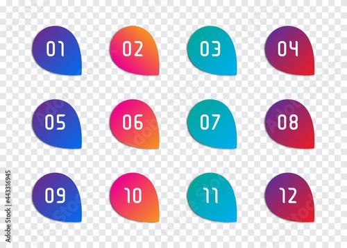 Fotografering Set of number bullet point 1 to 12