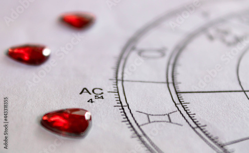 Photo Detail of printed astrology chart with with red heart shaped sequins