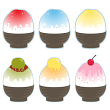Collection Of Shaved Ice Dessert With Different Flavored Syrup And Topping