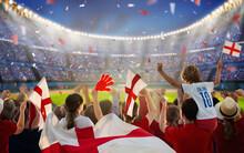 England Football Team Supporter On Stadium.