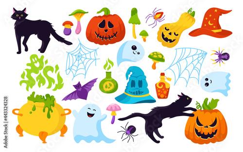 Fotografija Halloween holiday comic horror cartoon set