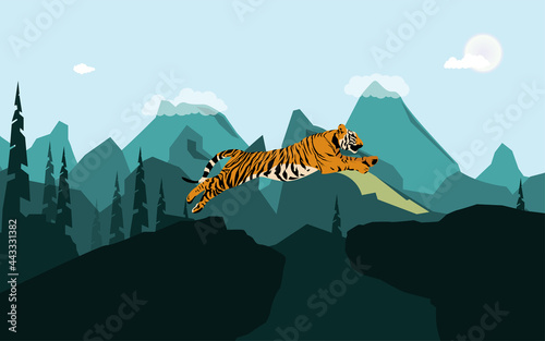 Canvastavla vector graphic illustration, tiger jumping off the rock against mountains backgr