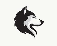 Elegant Head Wolf Side View Drawing Art Logo Design Illustration Inspiration