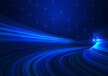 Wavy Line In Blue Color Tone, Vector Design Illustration,abstract Background, Futuristic Technology Concept