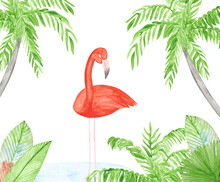 Watercolor Flamingo, Palms, And Tropical Plants On A White Background. Hand-drawn Piink Bird Illustration. Cute Print Of Exotic Animal And Green Plants. Colorful Flamingo Concept.