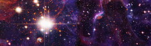 Space Background With Red Nebula And Stars.Panorama Purple And Blue Night Sky Milky Way And Star On Dark Background. Elements Of This Image Furnished By NASA.
