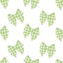 Seamless Pattern Bows Vector Illustration. Green Bow Plaid Print